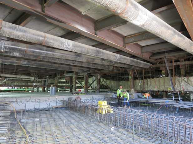 View of the wye junction roof, located directly under the 1st St/Alemda St intersection, while it still under construction.