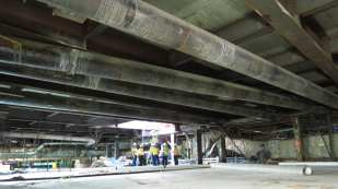 A view of the finished roof on the wye junction guideway.