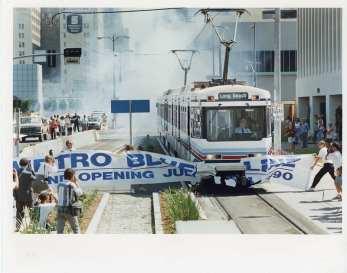 Celebratory banner breakthrough on July 14, 1990. Photo: LA Metro Primary Resources