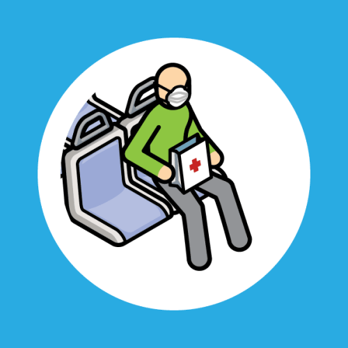 Ilustration of passenger on transit with a mask and a bag with red medical icon.