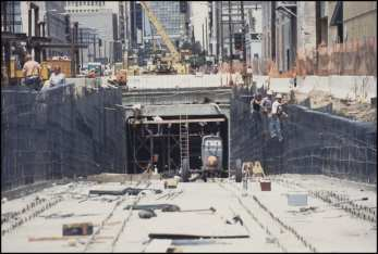 Construction of the Flower Street portal. Photo: LA Metro Primary Resources