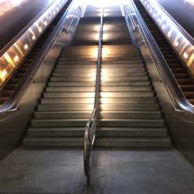 Cleaned stairs and escalators of Civic Center/Grand Park 1st Street portal.