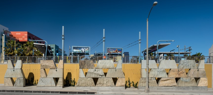 """Detail of recently installed artwork at Downtown Santa Monica Station """"The Crying Rock and Saint Monica"""" referencing the sacred springs named Kuruvungna by the Tongva."""