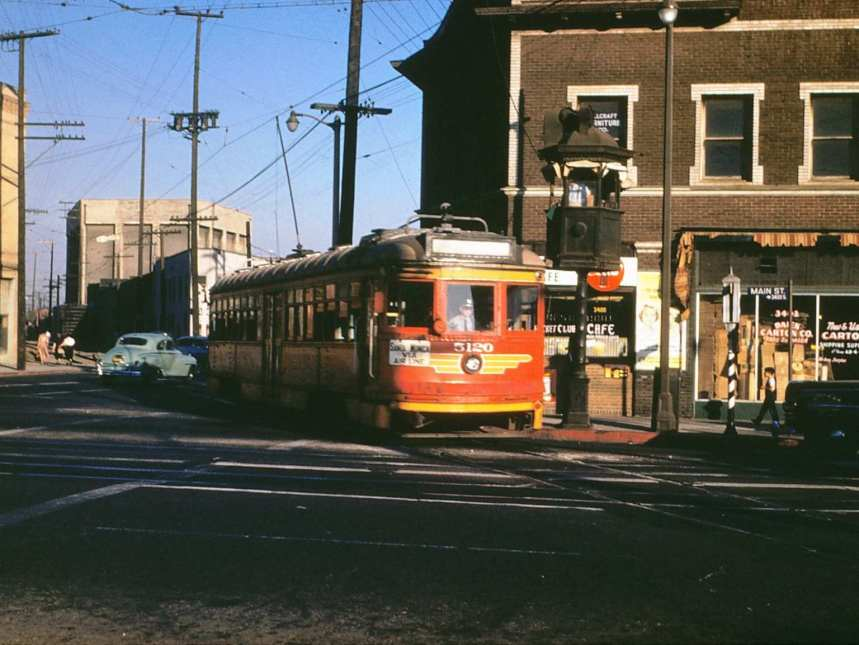 Pacific Electric Railway streetcar No. 5120 on the Santa Monica Air Line at Jefferson Street and Main Street, September 24, 1953. Photo: Alan Weeks