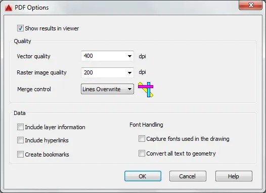 pdf options autocad 2016