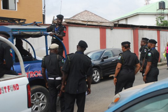 Cross-section of police officers at work