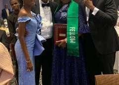 The new Fellow, Ekeoma & her husband, Azubuike, flanked by daughter, Ezinwa and Ryan Ezeibe