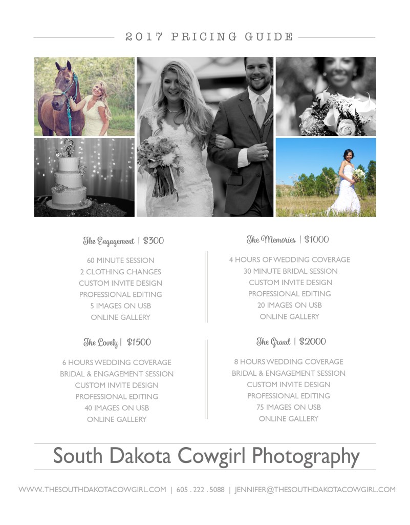 south dakota cowgirl, weddings, wedding price list, wedding photography