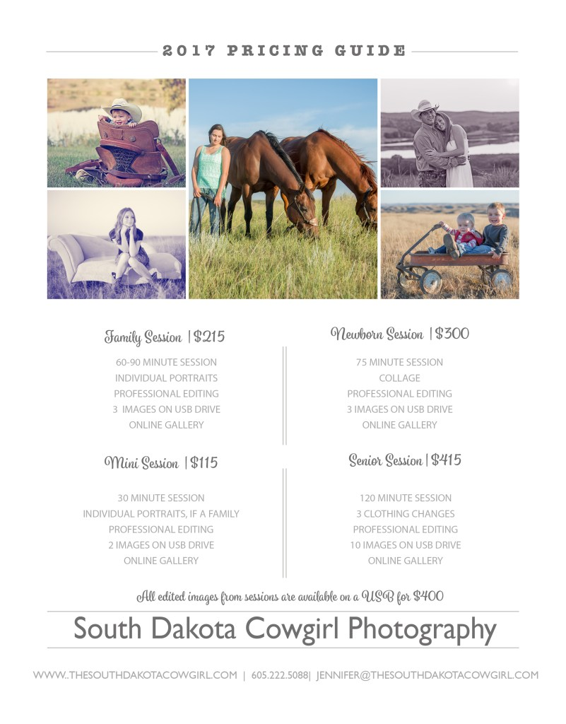 Portrait pricing, the south dakota cowgirl, south dakota cowgirl photography, photography investment