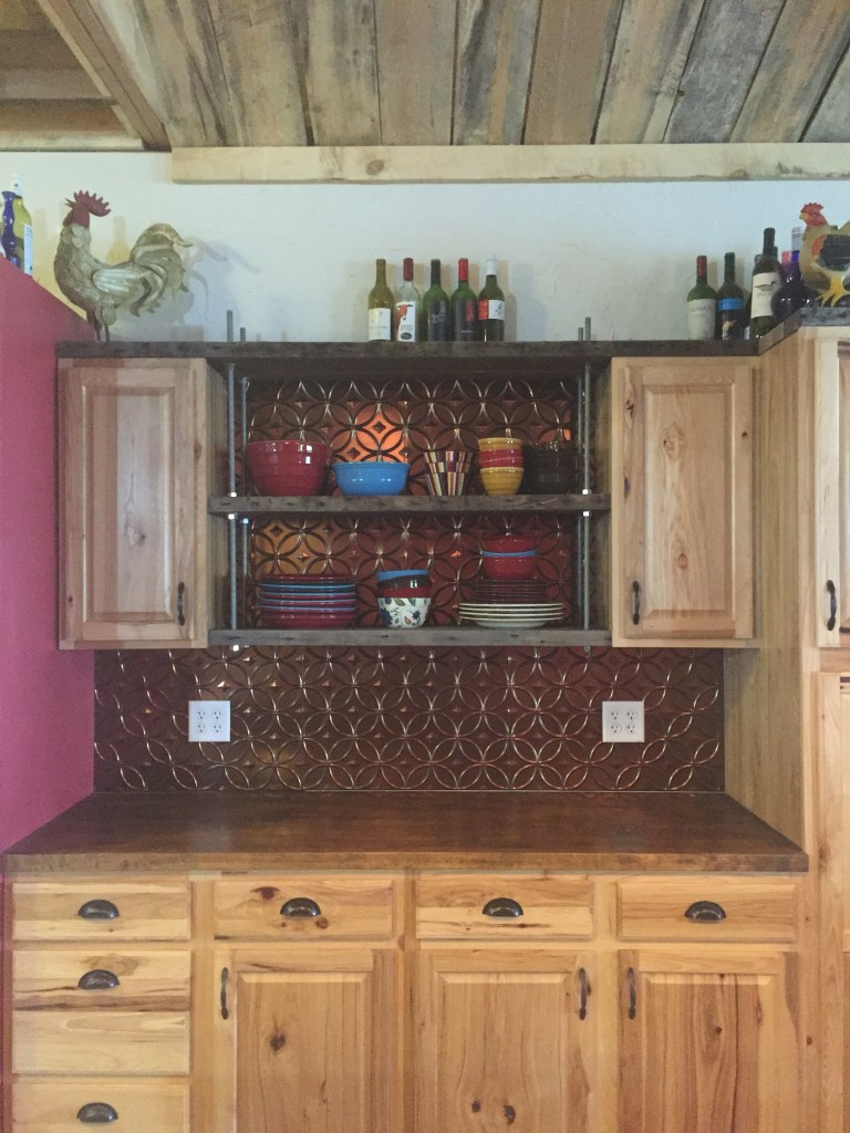 diy, floating kitchen shelves, industrial, rustic, kitchen, open shelving, the south dakota cowgirl