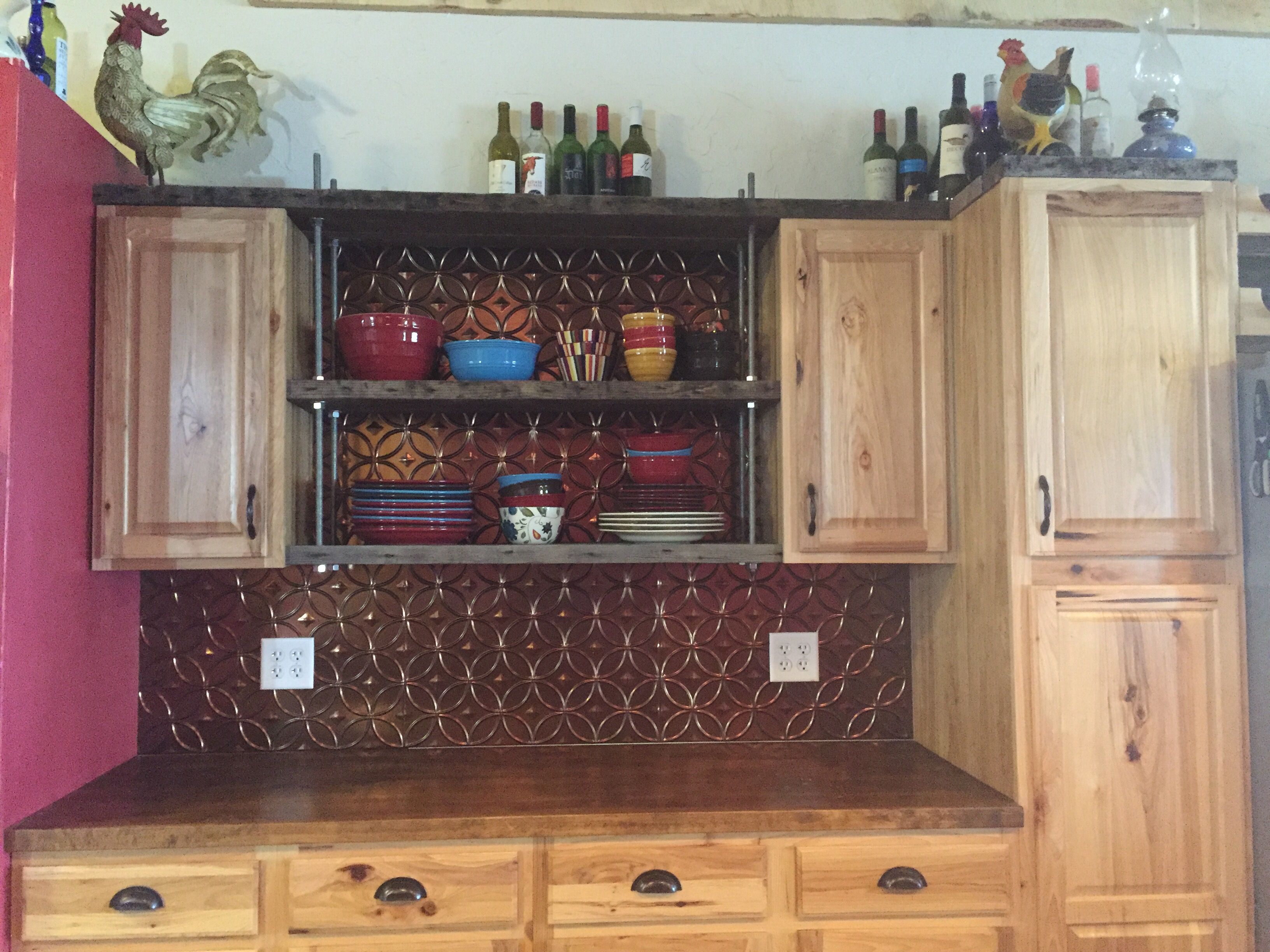 open kitchen shelving, diy kitchen shelves, reclaimed wood kitchen shelves