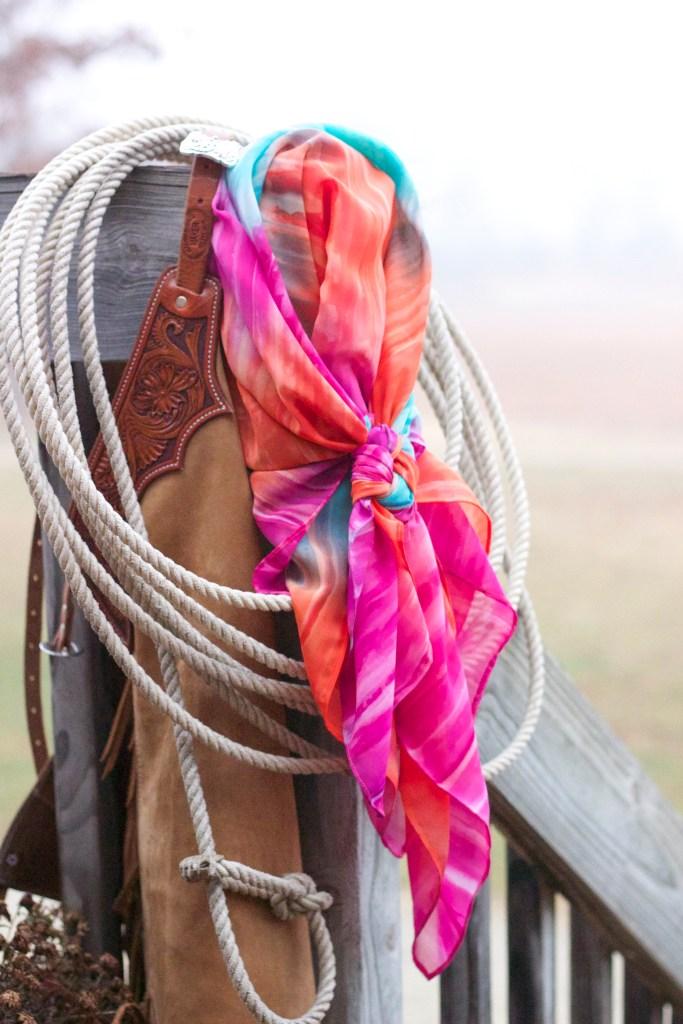 Ashley's Wild Rags, pink and orange wild rag