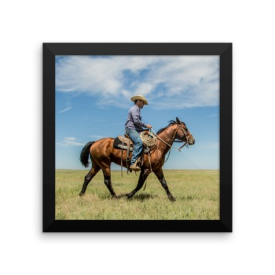 """Trot on Cowboy"" Color Framed poster"