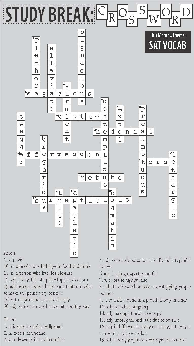 Crossword Puzzle Gallery Issue One Study Break Answer Key The Southerner Of English