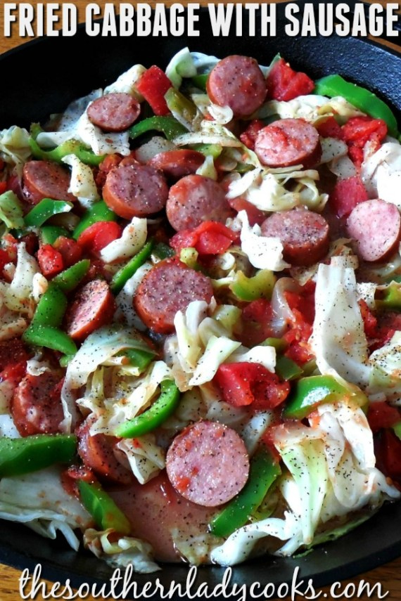Fried Cabbage with Sausage - The Southern Lady Cooks
