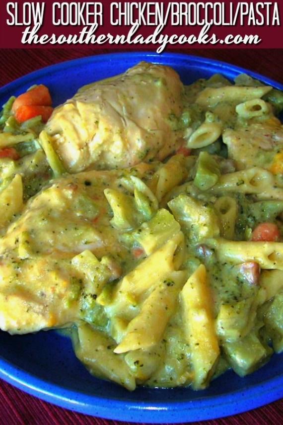 Slow Cooker Chicken Broccoli Pasta