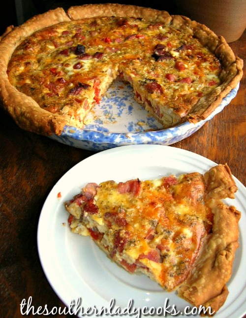Ham, Cheese and Tomato Quiche -The Southern Lady Cooks