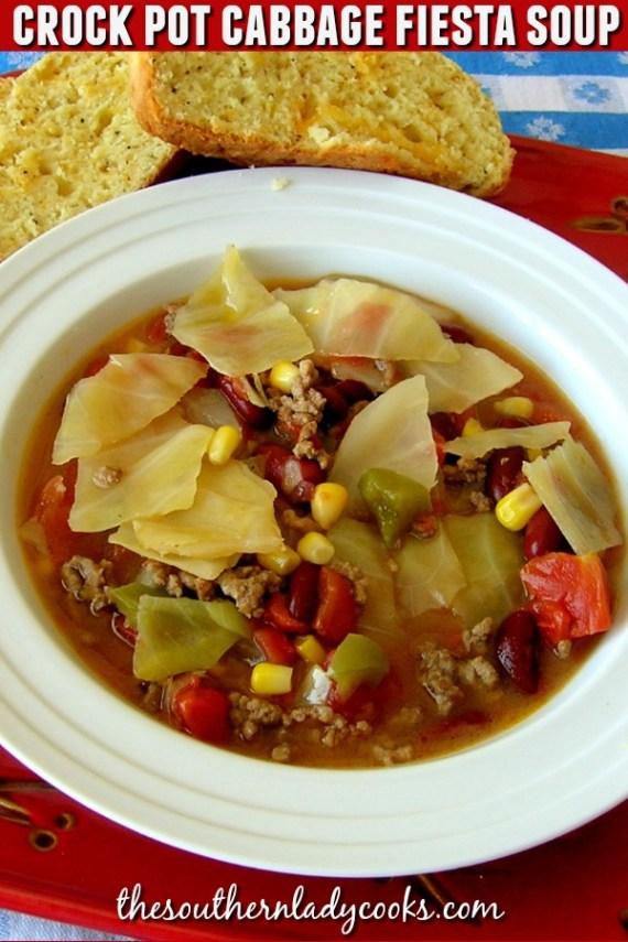 Crock Pot Cabbage Fiesta Soup - The Southern Lady Cooks