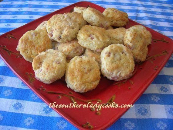 Cheesy Garlic Ham Biscuits