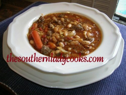 Sausage, White Bean, Pasta Soup -The Southern Lady Cooks