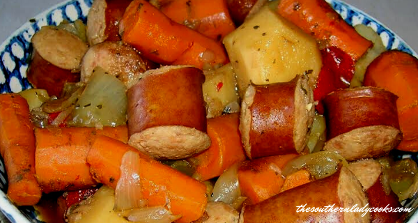 CROCKPOT SAUSAGE-VEGGIES WITH PEPPERS