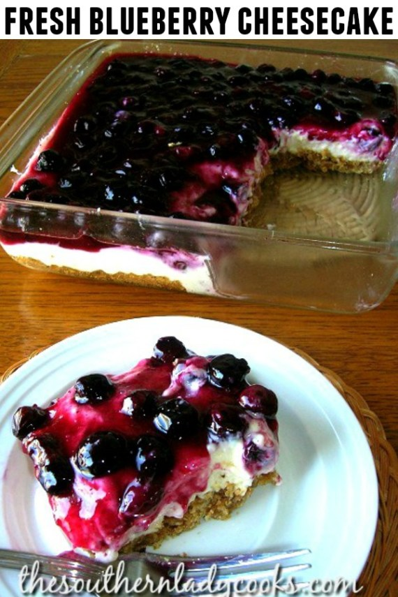 Fresh Blueberry Cheesecake - The Southern Lady Cooks