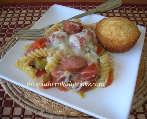 Cheesy Smoked Sausage Pasta Skillet