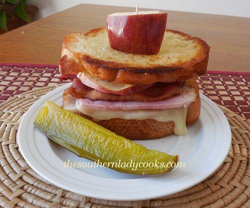 Ham, Swiss, Bacon with Apple Sandwich