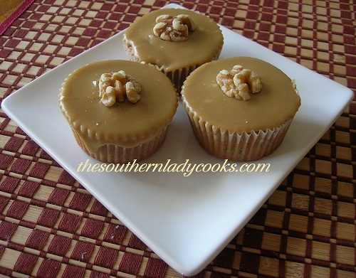Raisin Cupcakes with Caramel Frosting TSLC