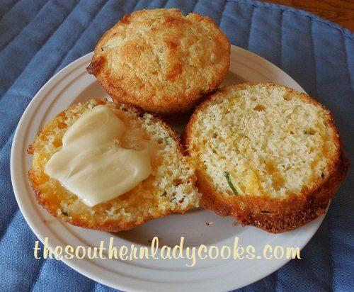 Cheesy Zucchini Cornbread Muffins