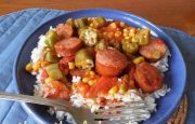 SMOKED SAUSAGE, TOMATOES AND OKRA SKILLET
