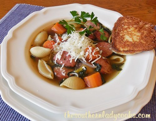 Sausage, Spinach and Pasta Soup - TSLC