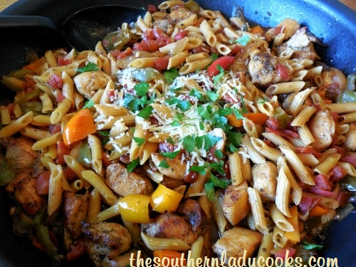 Italian Chicken, Peppers and Pasta Skillet - Copy - Copy