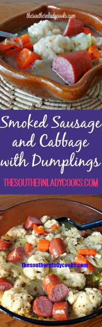The Southern Lady Cooks Smoked Sausage and Cabbage with Dumplings
