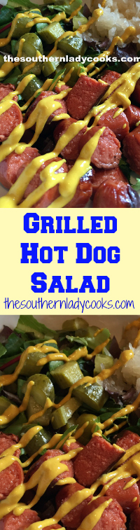 The Southern Lady Cooks Grilled Hot Dog Salad- Light Recipe