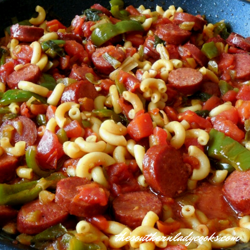 Smoked Sausage, Peppers, Pasta Skillet The Southern Lady Cooks
