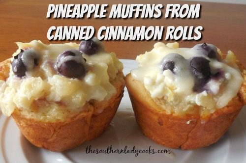 Pineapple Blueberry Muffins - The Southern Lady Cooks