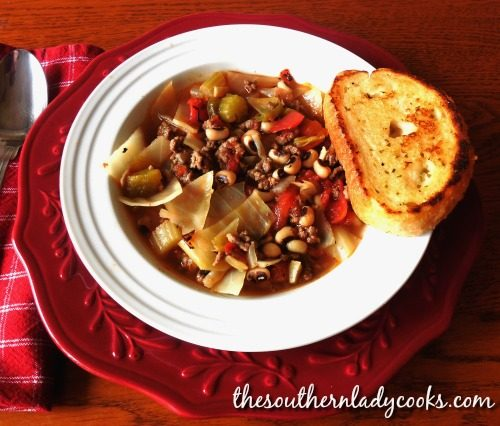 Black-eyed Pea Cabbage Soup-The Southern Lady Cooks