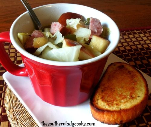 Easy cabbage apple sausage soup