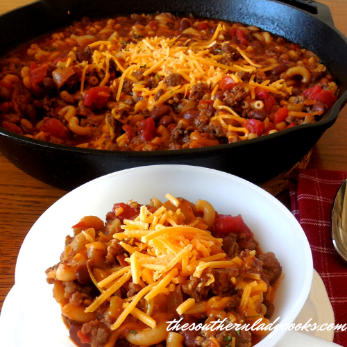 Chili Mac Skillet - The Southern Lady Cooks