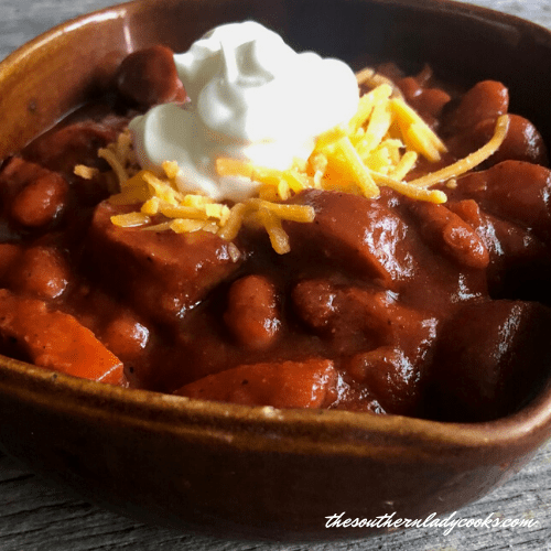 BBQ Smoked Sausage Chili The Southern Lady Cooks