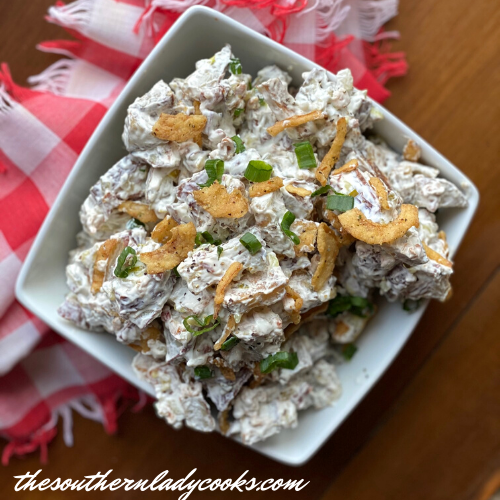 French onion roasted potato salad The Southern Lady Cooks
