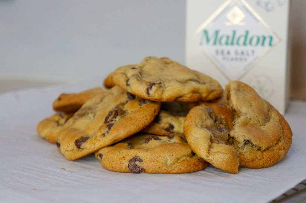 chocolate chip cookies with maldon sea salt