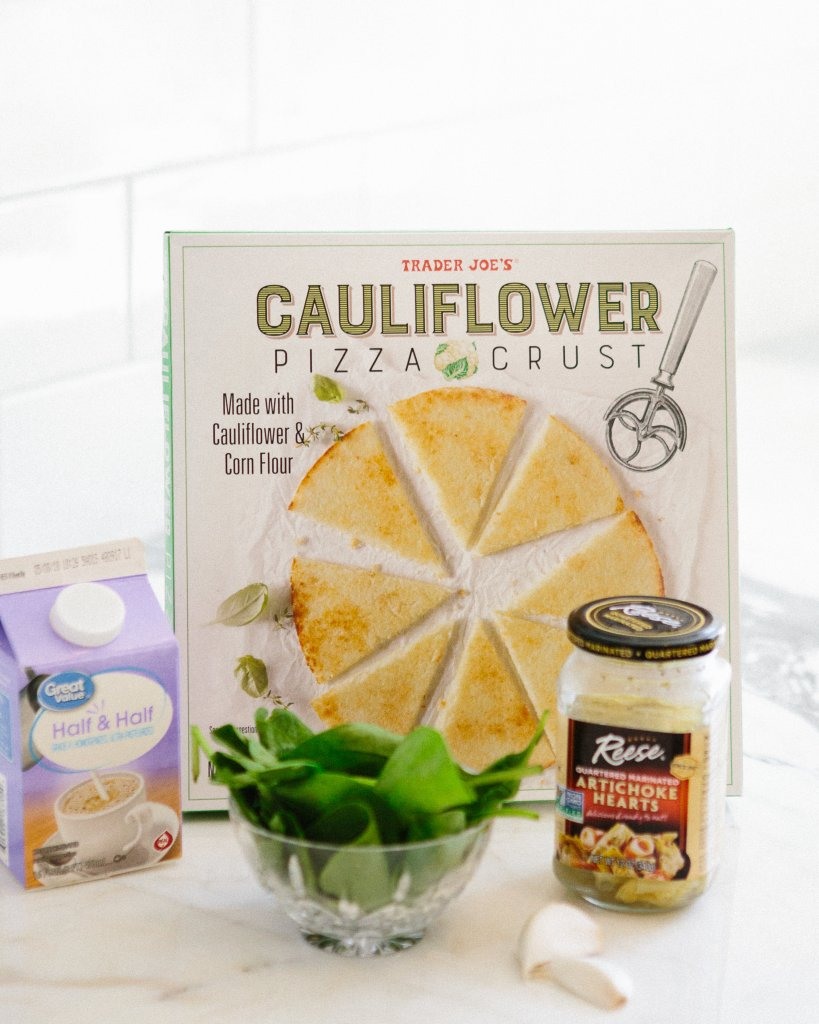 healthy pizza recipe spinach artichoke cauliflower pizza