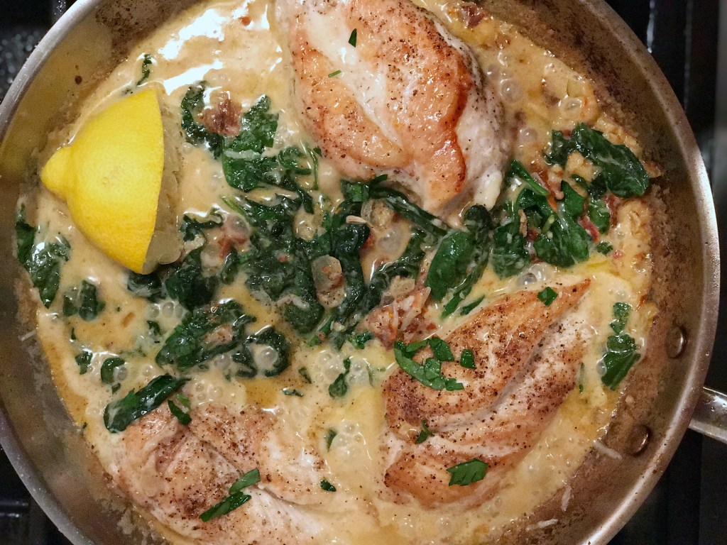 one pan dinners Lemon Tuscan Chicken with spinach and sun-dried tomatoes skinny recipes