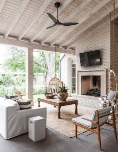 covered patio ideas with tv and swings