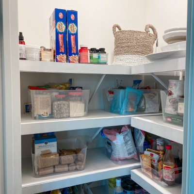 DIY floating shelves for wire rack pantry