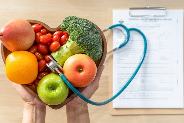 An image depicting healthful foods in a clinical setting