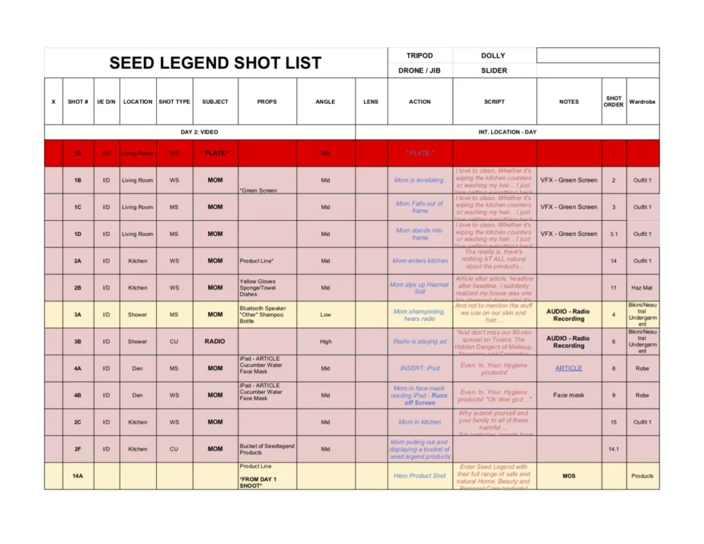 2019_04_23 _ SEED LEGEND _ SHOT LIST - Shotlist