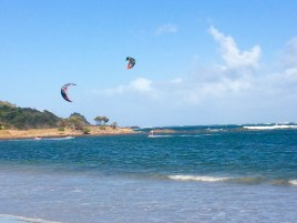 Kite surfers in the north of St. Lucia, at Cas En Bas beach.
